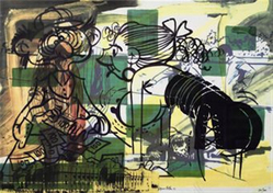 Sigmar Polke (German, born Poland, 1941-2010). <em>Leave the Lab and Enter the Office</em>, 1991. Four color photo offset on paper, sheet: 33 1/2 x 23 1/2 in. (85.1 x 59.7 cm). Brooklyn Museum, Gift of the artist, 1992.55a-b. © artist or artist's estate (Photo: Brooklyn Museum, CUR.1992.55a-b.jpg)