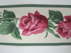 Trimz Company, Inc.. <em>'Border Paper, 'American Beauty', Pattern 2062'</em>, ca. 1950. Printed paper, height: 3in. (7.6 cm). Brooklyn Museum, Gift of Kevin L. Stayton, 1992.97.2. © artist or artist's estate (Photo: Brooklyn Museum, CUR.1992.97.2_detail.jpg)