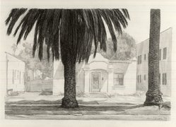 Robert Ginder (American, born 1948). <em>Study for Scene with Palm Trees</em>, 1993. Wash and graphite on paper, sheet: 15 x 20 1/4 in. (38.1 x 51.4 cm). Brooklyn Museum, Gift of the artist and the New York Foundation for the Arts, 1993.164. © artist or artist's estate (Photo: Brooklyn Museum, CUR.1993.164.jpg)