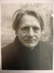 Joseph Breitenbach (American, 1896-1984). <em>Stanley William Hayter, Paris</em>, 1971. Toned gelatin silver photograph, image/sheet: 14 x 11 in. (35.6 x 27.9 cm). Brooklyn Museum, Gift of Peter C. Jones, 1995.165.1. © artist or artist's estate (Photo: Brooklyn Museum, CUR.1995.165.1.jpg)