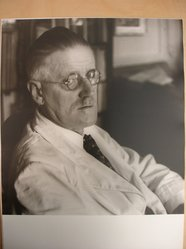 Joseph Breitenbach (American, 1896-1984). <em>James Joyce, Paris, 1937</em>, ca. 1968. Toned gelatin silver photograph, image: 11 3/4 x 10 7/8 in. (29.8 x 27.6 cm). Brooklyn Museum, Gift of Peter C. Jones, 1995.165.2. © artist or artist's estate (Photo: Brooklyn Museum, CUR.1995.165.2.jpg)