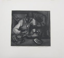 Will Barnet (American, 1911-2012). <em>Swing Shift</em>, 1937. Etching and aquatint on cream wove paper, sheet: 15 13/16 x 16 13/16 in. (40.3 x 42.7 cm). Brooklyn Museum, Alfred T. White Fund, 1996.12.1. © artist or artist's estate (Photo: Brooklyn Museum, CUR.1996.12.1.jpg)