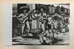 Taller de Gráfica Popular (founded Mexico City, 1937). <em>Vivac De Revolucionarios</em>, 1947. Relief print on paper, sheet: 10 11/16 x 15 13/16 in. (27.1 x 40.2 cm). Brooklyn Museum, Emily Winthrop Miles Fund, 1996.152.34. © artist or artist's estate (Photo: , CUR.1996.152.34.jpg)