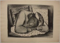 Riva Helfond (American, 1910-2002). <em>Sleeping Girl, Fatigued Black Woman</em>, ca. 1937. Lithograph on cream wove paper, Sheet: 16 1/16 x 23 in. (40.8 x 58.4 cm). Brooklyn Museum, Emily Winthrop Miles Fund, 1996.50. © artist or artist's estate (Photo: Brooklyn Museum, CUR.1996.50.jpg)