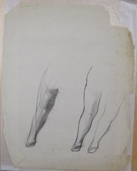 James Brooks (American, 1906-1992). <em>[Untitled] (Legs)</em>, n.d. Ink, charcoal and graphite on paper, Sheet: 23 3/4 x 18 7/8 in. (60.3 x 47.9 cm). Brooklyn Museum, Gift of Charlotte Park Brooks in memory of her husband, James David Brooks, 1996.54.100. © artist or artist's estate (Photo: Brooklyn Museum, CUR.1996.54.100.jpg)
