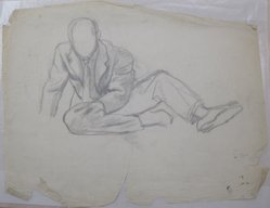 James Brooks (American, 1906-1992). <em>[Untitled] (Seated Male)</em>, n.d. Charcoal and graphite on paper, Sheet: 18 15/16 x 24 1/4 in. (48.1 x 61.6 cm). Brooklyn Museum, Gift of Charlotte Park Brooks in memory of her husband, James David Brooks, 1996.54.101. © artist or artist's estate (Photo: Brooklyn Museum, CUR.1996.54.101.jpg)