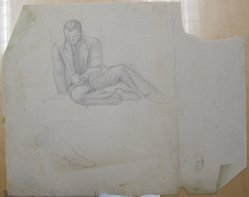 James Brooks (American, 1906-1992). <em>[Untitled] (Seated Male with a Mug)</em>, n.d. Graphite on paper, Sheet: 18 13/16 x 23 13/16 in. (47.8 x 60.5 cm). Brooklyn Museum, Gift of Charlotte Park Brooks in memory of her husband, James David Brooks, 1996.54.107. © artist or artist's estate (Photo: Brooklyn Museum, CUR.1996.54.107.jpg)