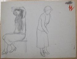 James Brooks (American, 1906-1992). <em>[Untitled] (Female Seated and Female Standing)</em>, n.d. Graphite on paper, Sheet: 16 x 21 in. (40.6 x 53.3 cm). Brooklyn Museum, Gift of Charlotte Park Brooks in memory of her husband, James David Brooks, 1996.54.108. © artist or artist's estate (Photo: Brooklyn Museum, CUR.1996.54.108.jpg)