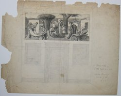 """James Brooks (American, 1906-1992). <em>[Untitled] (""""Mural Sketch for Little Falls, NJ Post Office"""")</em>, n.d. Ink, charcoal and graphite on paper, Sheet: 18 7/8 x 23 7/8 in. (47.9 x 60.6 cm). Brooklyn Museum, Gift of Charlotte Park Brooks in memory of her husband, James David Brooks, 1996.54.11. © artist or artist's estate (Photo: Brooklyn Museum, CUR.1996.54.11.jpg)"""