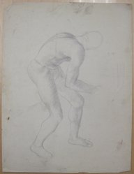 James Brooks (American, 1906-1992). <em>[Untitled] (Crouching Male Figure as Seen from Behind)</em>, n.d. Graphite on paper, Sheet: 21 x 16 in. (53.3 x 40.6 cm). Brooklyn Museum, Gift of Charlotte Park Brooks in memory of her husband, James David Brooks, 1996.54.110. © artist or artist's estate (Photo: Brooklyn Museum, CUR.1996.54.110.jpg)