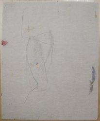 James Brooks (American, 1906-1992). <em>[Untitled] (Standing Draped Body)</em>, n.d. Graphite on paper, Sheet: 16 15/16 x 13 13/16 in. (43 x 35.1 cm). Brooklyn Museum, Gift of Charlotte Park Brooks in memory of her husband, James David Brooks, 1996.54.111. © artist or artist's estate (Photo: Brooklyn Museum, CUR.1996.54.111.jpg)