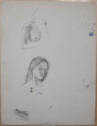 James Brooks (American, 1906-1992). <em>[Untitled] (Female Head and Breast)</em>, n.d. Ink wash and graphite on paper, Sheet: 21 x 16 in. (53.3 x 40.6 cm). Brooklyn Museum, Gift of Charlotte Park Brooks in memory of her husband, James David Brooks, 1996.54.113. © artist or artist's estate (Photo: Brooklyn Museum, CUR.1996.54.113.jpg)