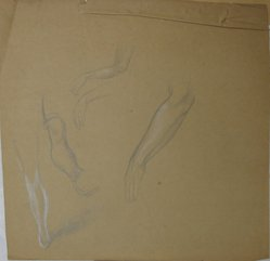 James Brooks (American, 1906-1992). <em>[Untitled] (Four Arms and One Leg)</em>, n.d. Charcoal on paper, Sheet: 19 x 19 9/16 in. (48.3 x 49.7 cm). Brooklyn Museum, Gift of Charlotte Park Brooks in memory of her husband, James David Brooks, 1996.54.134. © artist or artist's estate (Photo: Brooklyn Museum, CUR.1996.54.134.jpg)