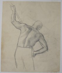 James Brooks (American, 1906-1992). <em>[Untitled] (Back of a Man)</em>, n.d. Graphite on paper, Sheet: 16 9/16 x 13 13/16 in. (42.1 x 35.1 cm). Brooklyn Museum, Gift of Charlotte Park Brooks in memory of her husband, James David Brooks, 1996.54.14. © artist or artist's estate (Photo: Brooklyn Museum, CUR.1996.54.14.jpg)