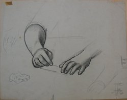 James Brooks (American, 1906-1992). <em>[Untitled] (Two Hands)</em>, n.d. Ink, charcoal and graphite on paper, Sheet: 14 3/16 x 17 15/16 in. (36 x 45.6 cm). Brooklyn Museum, Gift of Charlotte Park Brooks in memory of her husband, James David Brooks, 1996.54.141. © artist or artist's estate (Photo: Brooklyn Museum, CUR.1996.54.141.jpg)