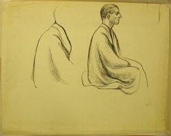 James Brooks (American, 1906-1992). <em>[Untitled] (Two Half Seated Figures)</em>, n.d. Ink on paper, Sheet: 18 3/4 x 23 7/8 in. (47.6 x 60.6 cm). Brooklyn Museum, Gift of Charlotte Park Brooks in memory of her husband, James David Brooks, 1996.54.153. © artist or artist's estate (Photo: Brooklyn Museum, CUR.1996.54.153.jpg)