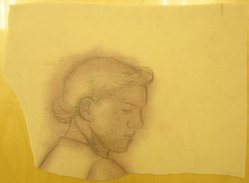 James Brooks (American, 1906-1992). <em>[Untitled] (Woman's Head)</em>, n.d. Graphite and brown chalk on paper, Sheet: 12 1/2 x 17 3/16 in. (31.8 x 43.7 cm). Brooklyn Museum, Gift of Charlotte Park Brooks in memory of her husband, James David Brooks, 1996.54.154. © artist or artist's estate (Photo: Brooklyn Museum, CUR.1996.54.154.jpg)
