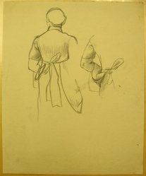 James Brooks (American, 1906-1992). <em>[Untitled] (Robed Woman from Behind)</em>, n.d. Charcoal on paper, Sheet: 17 1/8 x 13 7/8 in. (43.5 x 35.2 cm). Brooklyn Museum, Gift of Charlotte Park Brooks in memory of her husband, James David Brooks, 1996.54.155. © artist or artist's estate (Photo: Brooklyn Museum, CUR.1996.54.155.jpg)