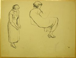 James Brooks (American, 1906-1992). <em>[Untitled] (Seated Woman and Standing Woman)</em>, n.d. Ink on paper, Sheet: 16 x 21 in. (40.6 x 53.3 cm). Brooklyn Museum, Gift of Charlotte Park Brooks in memory of her husband, James David Brooks, 1996.54.156. © artist or artist's estate (Photo: Brooklyn Museum, CUR.1996.54.156.jpg)