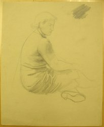 James Brooks (American, 1906-1992). <em>[Untitled] (Seated Woman)</em>, n.d. Graphite and charcoal on paper, Sheet: 16 15/16 x 13 7/8 in. (43 x 35.2 cm). Brooklyn Museum, Gift of Charlotte Park Brooks in memory of her husband, James David Brooks, 1996.54.157. © artist or artist's estate (Photo: Brooklyn Museum, CUR.1996.54.157.jpg)
