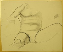 James Brooks (American, 1906-1992). <em>[Untitled] (Seated torso with Legs Spread)</em>, n.d. Ink and graphite on paper, Sheet: 13 15/16 x 16 15/16 in. (35.4 x 43 cm). Brooklyn Museum, Gift of Charlotte Park Brooks in memory of her husband, James David Brooks, 1996.54.159. © artist or artist's estate (Photo: Brooklyn Museum, CUR.1996.54.159.jpg)