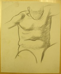 James Brooks (American, 1906-1992). <em>[Untitled] (Torso)</em>, n.d. Charcoal on paper, Sheet: 16 15/16 x 13 15/16 in. (43 x 35.4 cm). Brooklyn Museum, Gift of Charlotte Park Brooks in memory of her husband, James David Brooks, 1996.54.160. © artist or artist's estate (Photo: Brooklyn Museum, CUR.1996.54.160.jpg)