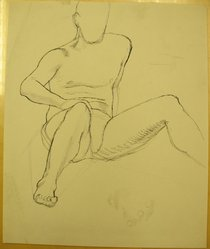 James Brooks (American, 1906-1992). <em>[Untitled] (Torso)</em>, n.d. Ink and graphite on paper, Sheet: 16 15/16 x 13 15/16 in. (43 x 35.4 cm). Brooklyn Museum, Gift of Charlotte Park Brooks in memory of her husband, James David Brooks, 1996.54.161. © artist or artist's estate (Photo: Brooklyn Museum, CUR.1996.54.161.jpg)