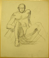 James Brooks (American, 1906-1992). <em>[Untitled] (Seated Figure)</em>, n.d. Ink, charcoal and graphite on paper, Sheet: 16 15/16 x 13 15/16 in. (43 x 35.4 cm). Brooklyn Museum, Gift of Charlotte Park Brooks in memory of her husband, James David Brooks, 1996.54.162. © artist or artist's estate (Photo: Brooklyn Museum, CUR.1996.54.162.jpg)