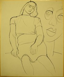 James Brooks (American, 1906-1992). <em>[Untitled] (Seated Woman and Face)</em>, n.d. Ink on paper, Sheet: 16 15/16 x 13 15/16 in. (43 x 35.4 cm). Brooklyn Museum, Gift of Charlotte Park Brooks in memory of her husband, James David Brooks, 1996.54.164. © artist or artist's estate (Photo: Brooklyn Museum, CUR.1996.54.164.jpg)