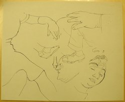 James Brooks (American, 1906-1992). <em>[Untitled] (Faces, Hands and Legs)</em>, n.d. Ink on paper, Sheet: 13 15/16 x 16 15/16 in. (35.4 x 43 cm). Brooklyn Museum, Gift of Charlotte Park Brooks in memory of her husband, James David Brooks, 1996.54.165. © artist or artist's estate (Photo: Brooklyn Museum, CUR.1996.54.165.jpg)