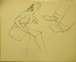 James Brooks (American, 1906-1992). <em>[Untitled] (Woman Seated and Man's Legs)</em>, n.d. Ink on paper, Sheet: 13 15/16 x 16 15/16 in. (35.4 x 43 cm). Brooklyn Museum, Gift of Charlotte Park Brooks in memory of her husband, James David Brooks, 1996.54.166. © artist or artist's estate (Photo: Brooklyn Museum, CUR.1996.54.166.jpg)