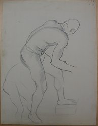 James Brooks (American, 1906-1992). <em>[Untitled] (Nude Figure Bending)</em>, n.d. Graphite and ink on paper, Sheet: 21 x 16 in. (53.3 x 40.6 cm). Brooklyn Museum, Gift of Charlotte Park Brooks in memory of her husband, James David Brooks, 1996.54.178. © artist or artist's estate (Photo: Brooklyn Museum, CUR.1996.54.178.jpg)