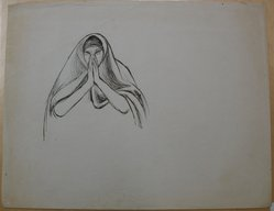 James Brooks (American, 1906-1992). <em>[Untitled] (Woman in Shroud and Hands in Prayer)</em>, n.d. Ink on paper, Sheet: 18 13/16 x 23 15/16 in. (47.8 x 60.8 cm). Brooklyn Museum, Gift of Charlotte Park Brooks in memory of her husband, James David Brooks, 1996.54.181. © artist or artist's estate (Photo: Brooklyn Museum, CUR.1996.54.181.jpg)