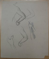 James Brooks (American, 1906-1992). <em>[Untitled] (Five Various Studies of the Arm)</em>, n.d. Graphite on paper, Sheet: 16 15/16 x 13 7/8 in. (43 x 35.2 cm). Brooklyn Museum, Gift of Charlotte Park Brooks in memory of her husband, James David Brooks, 1996.54.186. © artist or artist's estate (Photo: Brooklyn Museum, CUR.1996.54.186.jpg)