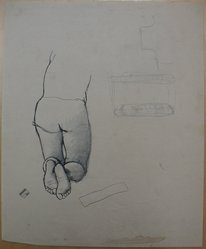 James Brooks (American, 1906-1992). <em>[Untitled] (Lower Half of Kneeling Figure as Seen from Behind)</em>, n.d. Graphite and ink on paper, Sheet: 16 15/16 x 13 7/8 in. (43 x 35.2 cm). Brooklyn Museum, Gift of Charlotte Park Brooks in memory of her husband, James David Brooks, 1996.54.188. © artist or artist's estate (Photo: Brooklyn Museum, CUR.1996.54.188.jpg)
