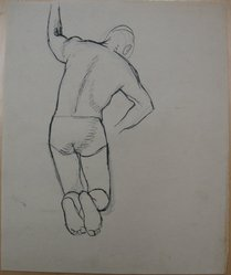 James Brooks (American, 1906-1992). <em>[Untitled] (Kneeling Figure from Behind)</em>, n.d. Ink and graphite on paper, Sheet: 16 7/8 x 13 7/8 in. (42.9 x 35.2 cm). Brooklyn Museum, Gift of Charlotte Park Brooks in memory of her husband, James David Brooks, 1996.54.190. © artist or artist's estate (Photo: Brooklyn Museum, CUR.1996.54.190.jpg)