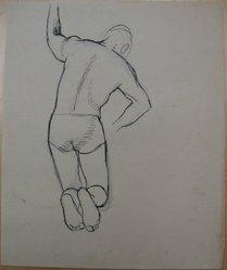 James Brooks (American, 1906-1992). <em>[Untitled] (Kneeling Figure from Behind)</em>, n.d. Ink and graphite on paper, Sheet: 16 7/8 x 13 7/8 in. (42.9 x 35.2 cm). Brooklyn Museum, Gift of Charlotte Park Brooks in memory of her husband, James David Brooks, 1996.54.190. © artist or artist's estate (Photo: Brooklyn Museum, CUR.1996.54.190.jpg)