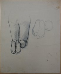 James Brooks (American, 1906-1992). <em>[Untitled] (Legs Kneeling and Feet)</em>, n.d. Ink and graphite on paper, Sheet: 16 15/16 x 13 7/8 in. (43 x 35.2 cm). Brooklyn Museum, Gift of Charlotte Park Brooks in memory of her husband, James David Brooks, 1996.54.191. © artist or artist's estate (Photo: Brooklyn Museum, CUR.1996.54.191.jpg)