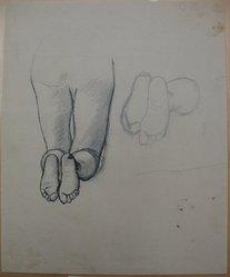 James Brooks (American, 1906-1992). <em>[Untitled] (Legs Kneeling and Feet)</em>, n.d. Ink and graphite on paper, Sheet: 16 15/16 x 13 7/8 in. (43 x 35.2 cm). Brooklyn Museum, Gift of Charlotte Park Brooks in memory of her husband, James David Brooks, 1996.54.191. © artist or artist's estate (Photo: Brooklyn Museum, CUR.1996.54.191.jpg)