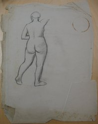 James Brooks (American, 1906-1992). <em>[Untitled] (Full Length Nude Woman as Seen from Behind)</em>, n.d. Charcoal on paper, Sheet (irregular): 23 3/4 x 18 5/16 in. (60.3 x 46.5 cm). Brooklyn Museum, Gift of Charlotte Park Brooks in memory of her husband, James David Brooks, 1996.54.198. © artist or artist's estate (Photo: Brooklyn Museum, CUR.1996.54.198.jpg)