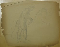 James Brooks (American, 1906-1992). <em>[Untitled] (Figure in Motion)</em>, n.d. Graphite on paper, Sheet (irregular): 17 3/4 x 22 13/16 in. (45.1 x 57.9 cm). Brooklyn Museum, Gift of Charlotte Park Brooks in memory of her husband, James David Brooks, 1996.54.202. © artist or artist's estate (Photo: Brooklyn Museum, CUR.1996.54.202.jpg)