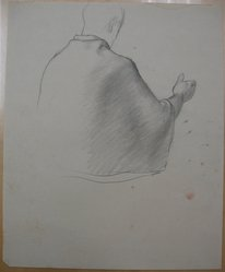 James Brooks (American, 1906-1992). <em>[Untitled] (Upper Half of Figure Draped in Cloth as Seen from Behind</em>, n.d. Graphite on paper, Sheet: 16 15/16 x 13 7/8 in. (43 x 35.2 cm). Brooklyn Museum, Gift of Charlotte Park Brooks in memory of her husband, James David Brooks, 1996.54.205. © artist or artist's estate (Photo: Brooklyn Museum, CUR.1996.54.205.jpg)