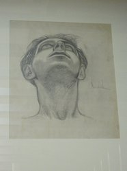 James Brooks (American, 1906-1992). <em>[Untitled] (Head of a Man)</em>. Charcoal and graphite on paper, 16 7/8 x 13 7/8 in. (42.7 x 35.3 cm). Brooklyn Museum, Gift of Charlotte Park Brooks in memory of her husband, James David Brooks, 1996.54.21. © artist or artist's estate (Photo: Brooklyn Museum, CUR.1996.54.21.jpg)