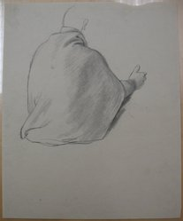 James Brooks (American, 1906-1992). <em>[Untitled] (Back Draped in Cloth)</em>, n.d. Charcoal on paper, Sheet: 16 15/16 x 13 7/8 in. (43 x 35.2 cm). Brooklyn Museum, Gift of Charlotte Park Brooks in memory of her husband, James David Brooks, 1996.54.210. © artist or artist's estate (Photo: Brooklyn Museum, CUR.1996.54.210.jpg)