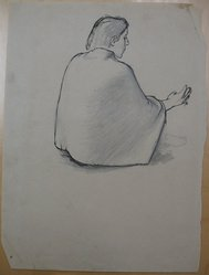 James Brooks (American, 1906-1992). <em>[Untitled] (Figure Seated Cross Legged with Shawl)</em>, n.d. Ink and graphite on paper, Sheet: 18 15/16 x 15 1/4 in. (48.1 x 38.7 cm). Brooklyn Museum, Gift of Charlotte Park Brooks in memory of her husband, James David Brooks, 1996.54.211. © artist or artist's estate (Photo: Brooklyn Museum, CUR.1996.54.211.jpg)