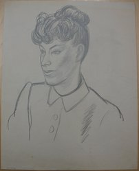 James Brooks (American, 1906-1992). <em>[Untitled] (Recto: Three quarter View of Woman with Hair in Bun; Verso: Three-quarter View of Woman with Hair in Bun, Line Drawing)</em>, n.d. Graphite on paper, Sheet: 18 x 14 3/16 in. (45.7 x 36 cm). Brooklyn Museum, Gift of Charlotte Park Brooks in memory of her husband, James David Brooks, 1996.54.215a-b. © artist or artist's estate (Photo: Brooklyn Museum, CUR.1996.54.215a.jpg)