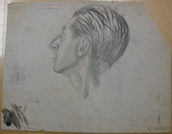 James Brooks (American, 1906-1992). <em>[Untitled] (Back of a Head and a Partial Profile)</em>, n.d. Charcoal, graphite and ink wash on paper, Sheet (irregular): 18 3/4 x 23 7/8 in. (47.6 x 60.6 cm). Brooklyn Museum, Gift of Charlotte Park Brooks in memory of her husband, James David Brooks, 1996.54.217. © artist or artist's estate (Photo: Brooklyn Museum, CUR.1996.54.217.jpg)