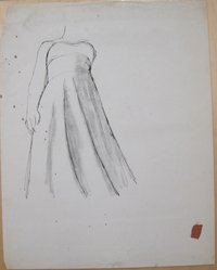 James Brooks (American, 1906-1992). <em>[Untitled] (Female Torso in Gown)</em>, n.d. Ink and charcoal on paper, Sheet (irregular): 23 7/8 x 18 13/16 in. (60.6 x 47.8 cm). Brooklyn Museum, Gift of Charlotte Park Brooks in memory of her husband, James David Brooks, 1996.54.224. © artist or artist's estate (Photo: Brooklyn Museum, CUR.1996.54.224.jpg)