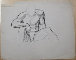 James Brooks (American, 1906-1992). <em>[Untitled] (Seated Male in Briefs)</em>, n.d. Ink and graphite on paper, Sheet (irregular): 18 13/16 x 23 11/16 in. (47.8 x 60.2 cm). Brooklyn Museum, Gift of Charlotte Park Brooks in memory of her husband, James David Brooks, 1996.54.225. © artist or artist's estate (Photo: Brooklyn Museum, CUR.1996.54.225.jpg)