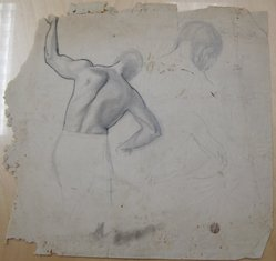 James Brooks (American, 1906-1992). <em>[Untitled] (Figure as Seen from Behind)</em>, n.d. Ink and graphite on paper, Sheet (irregular): 18 15/16 x 19 13/16 in. (48.1 x 50.3 cm). Brooklyn Museum, Gift of Charlotte Park Brooks in memory of her husband, James David Brooks, 1996.54.226. © artist or artist's estate (Photo: Brooklyn Museum, CUR.1996.54.226.jpg)